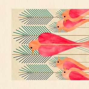 modern love birds in a pine forest