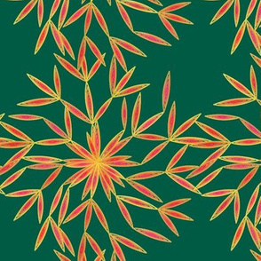 Snow Flower Orange & Teal Green