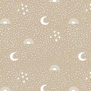Boho universe sun moon and stars lunar magic summer spots Scandinavian style nursery neutral beige