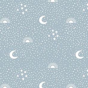 Boho universe sun moon and stars lunar magic summer night spots Scandinavian style nursery neutral classic blue black
