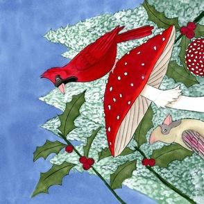 Cardinals & Fly Agaric Tea Towel