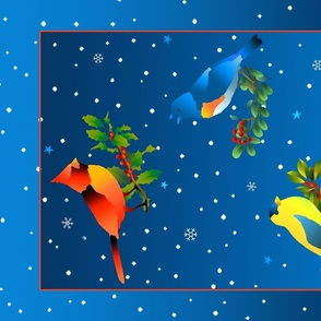 Winter Birds on a Snowy Night Tea Towel