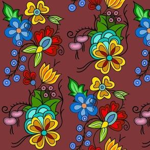 Ojibwe florals burgundy