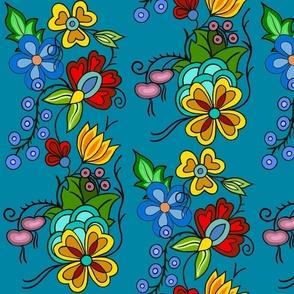 Ojibwe florals Turq