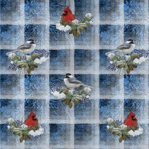 Cardinals and Chickadees on Wintry Blue Yardage