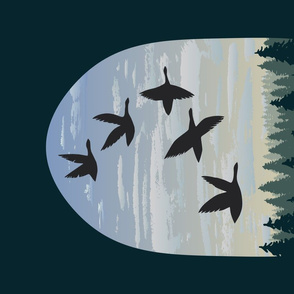 Canadian Geese over PNW Forest