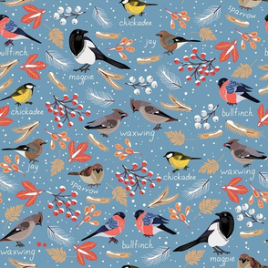 Wintering birds. Seamless pattern.