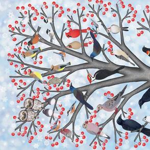Winter birds of North America tea towel
