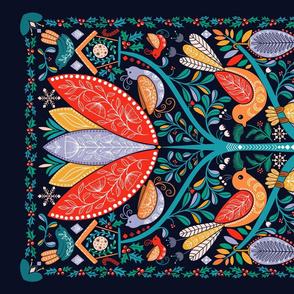 Tea towel folk garden, colorful bright winter, birds tree of life