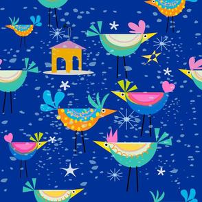 Winter Birds Pattern Blue Night