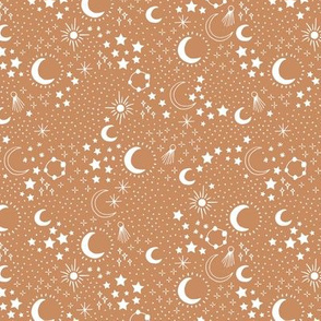 Mystic Universe party sun moon phase and stars sweet dreams night burnt orange caramel brown