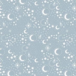 Mystic Universe party sun moon phase and stars sweet dreams night baby blue
