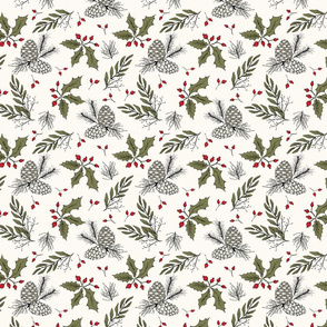 Twiggy Bits - Sage, Red,  H White