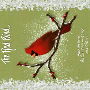 """The Red Bird Tea Towel ©Julee Wood - TO PRINT CORRECTLY choose FAT QUARTER in any fabric 54"""" or wider"""
