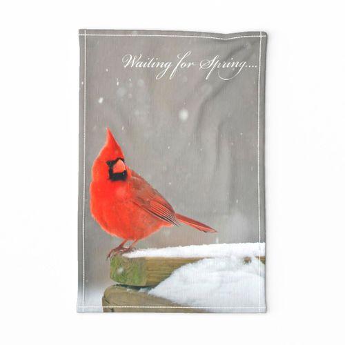 Tea Towel Birds Cardinal waiting for Spring