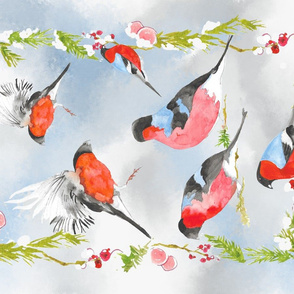 Bullfinches In Winter A-01