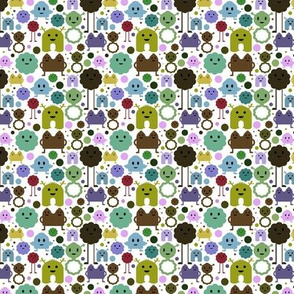 Monsters On the Loose - Teals, Browns and Olive - teeny tiny