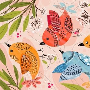 Winter rustic birds