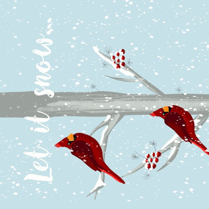 Red Christmas Bird - Let it snow Tea Towel