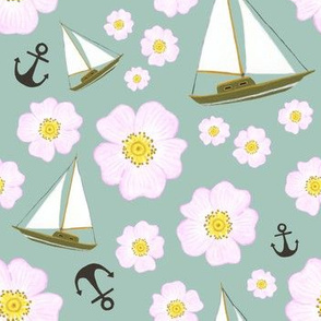 Boats and roses pale green medium