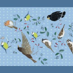 teatowel cheeky winterbirds
