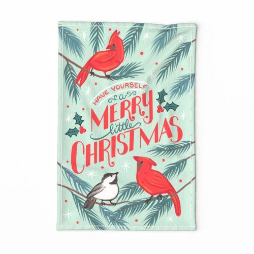 Merry Christmas Winter Birds Tea Towel