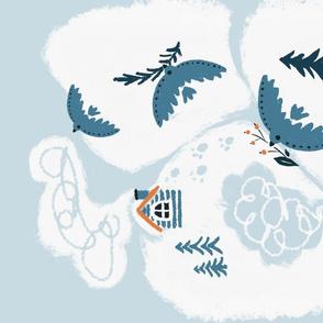 Winter birds landscapetowel