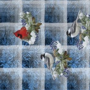 Chickadees and Cardinals on Wintry Blue Tea Towel