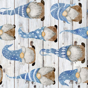 Blue Gnomes on Shiplap rotated - large scale