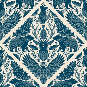 Large Scale, Wildlife Spirit Animals in Blue lighter background, Fox Bear and Deer