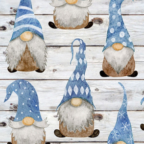 Blue Gnomes on Shiplap - large scale
