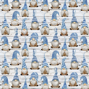 Blue Gnomes on Shiplap- small scale