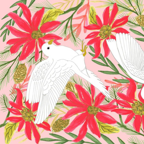 Watercolor Winter Peace Bird, Tea Towel