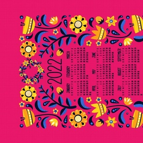 2021 Midsummer Festival Floral Tea Towel Calendar (Pink)