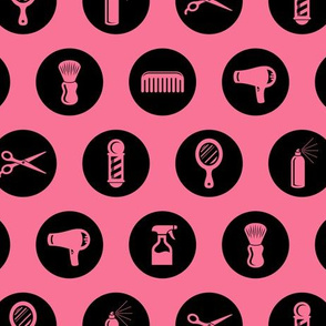 Salon & Barbershop Icons Circles in Black with Coral Pink Background (Mini Scale)