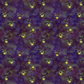 fireflies glow dark violet purple bokeh