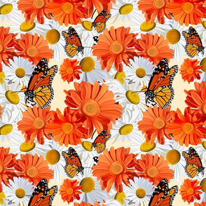 Baltimore Oriels and Monarch Butterfly-Daisies -Cream