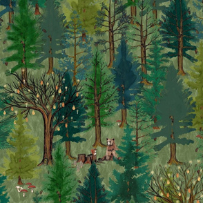 Large Forest on olive green with woodland animals, bear and squirrel large scale, trees, mushrooms, kids, baby boy, home decor, curtain, autumn, outdoors