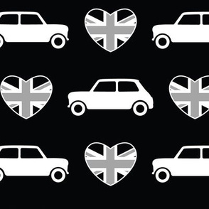 Mini Cooper Hearts - Union Jack Black - Large