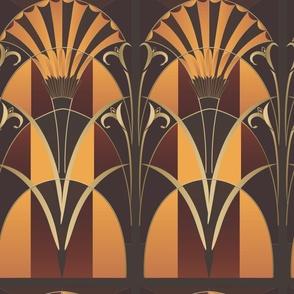 Large Scale Wood Tones Art Deco Mural