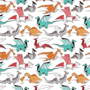 Tiny scale // Origami dragon friends // white background aqua orange grey and red fantastic creatures