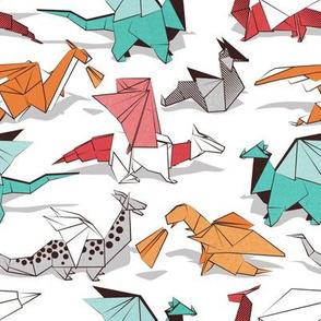 Small scale // Origami dragon friends // white background aqua orange grey and red fantastic creatures