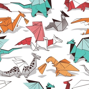 Normal scale // Origami dragon friends // white background aqua orange grey and red fantastic creatures