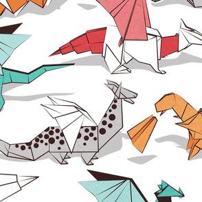 Large jumbo scale // Origami dragon friends // white background aqua orange grey and red fantastic creatures