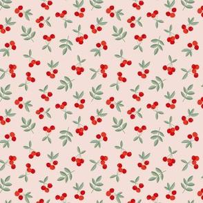 Fruit garden cherry love bohemian botanical leaves soft nursery design girls red green