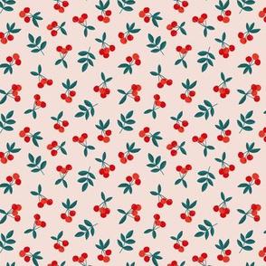 Fruit garden cherry love bohemian botanical leaves soft nursery design girls red forest green