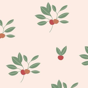 Leaf garden cherry berry love bohemian botanical leaves soft nursery design girls red orange sage green