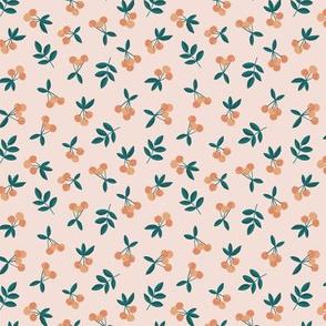 Fruit garden cherry love bohemian botanical leaves soft nursery design girls orange green