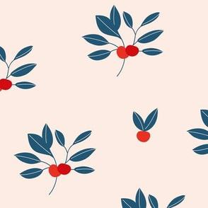 Leaf garden cherry berry love bohemian botanical leaves soft nursery design girls red navy blue