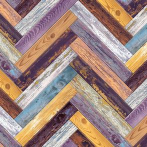 Reclaimed Boat Wood Chevron Tiles Purple Yellow Blue White Rust Orange Herringbone